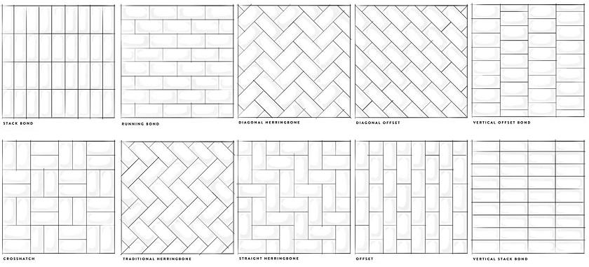 Different layouts of subway tiles