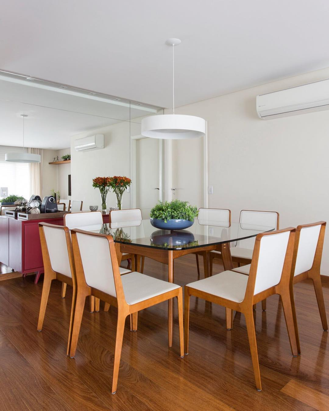 Glass and wood table with wooden chairs