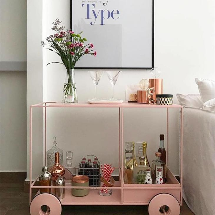 Pink painted bar trolley