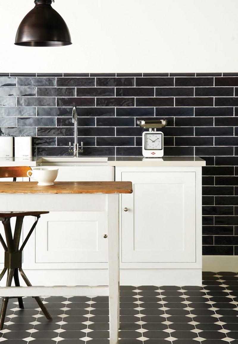 Subway black tiles with white lines