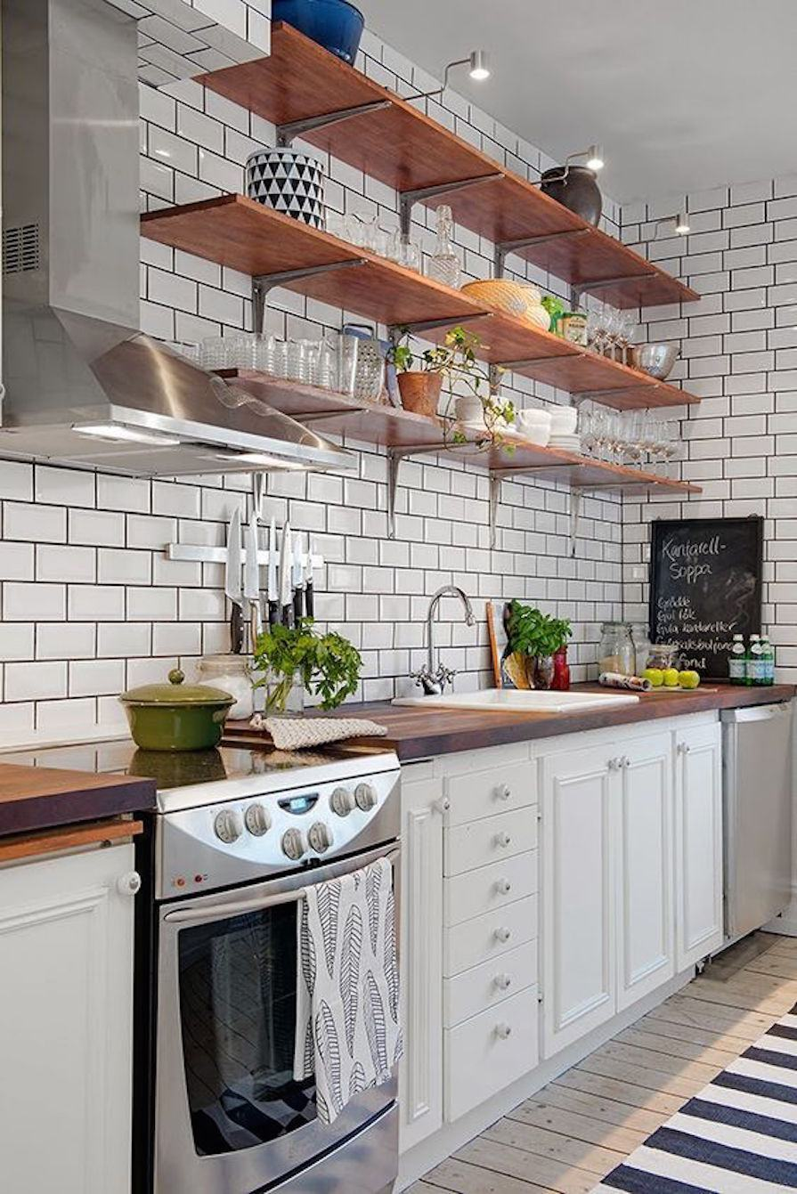 Subway tiles drawn on the wall