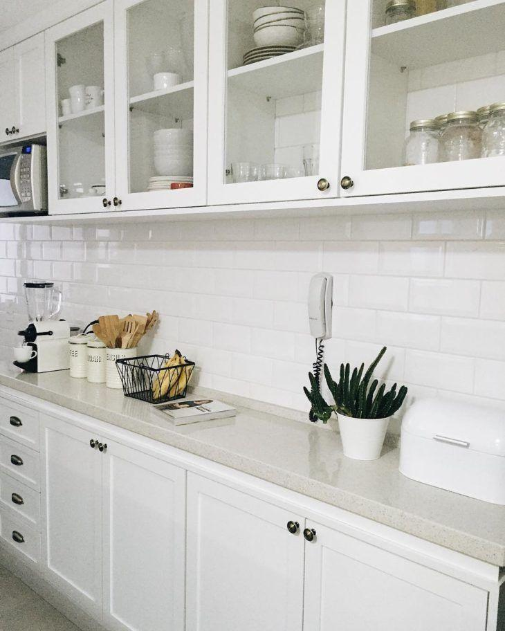 Subway tiles inside the cabinets