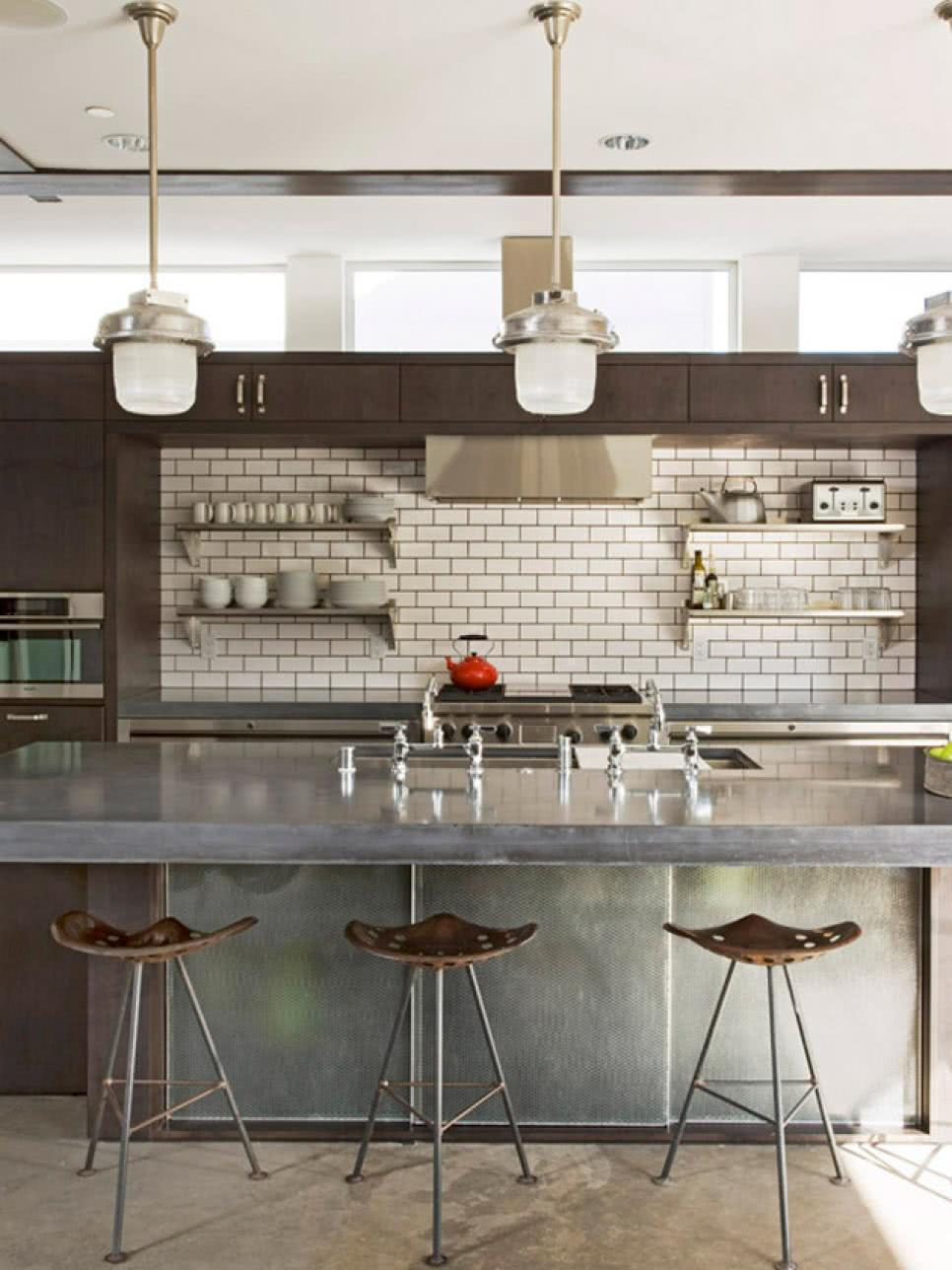 Subway tiles only in one part of the kitchen