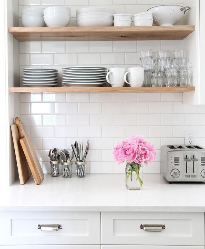 White brick wall in the kitchen