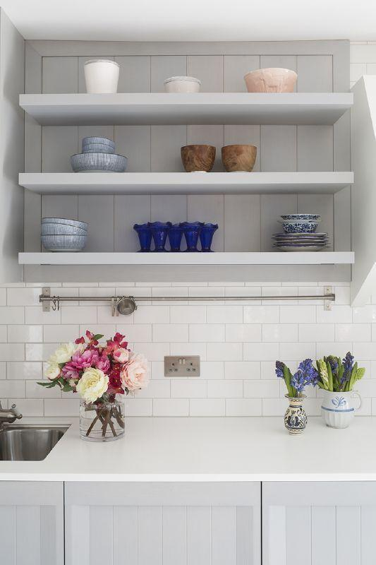 White cabinets in the kitchen